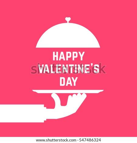 ngày valentine hạnh phúc như phục vụ bàn tay.  khái niệm của sự sang trọng, ăn uống, chuông bạc, người sành ăn, điểm hẹn, sành ăn, biểu tượng ăn trưa.  xu hướng phẳng phong cách hiện đại, logo thiết kế mỹ thuật đồ họa trên nền màu hồng