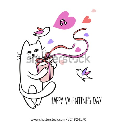 Happy valentine day. Little cat hold a gift box with pink ribbon. Cute character design. Cartoon hand drawn style. Vector illustration isolated on white. Perfect for greeting card, poster design.