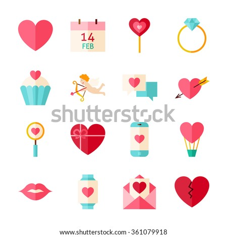 Happy Valentine Day Objects Set isolated over White. Flat Design Vector Illustration. Collection of Love Wedding Items.