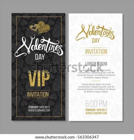 Vip invitation stock images royalty free images vectors happy valentine day poster template with hand drawn lettering 14 february banner with decorative hearts stopboris Image collections