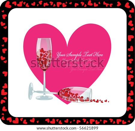 Happy Valentine's Card with wineglasses - stock vector