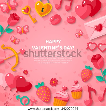 Happy Valentine's Day Background. Flat Valentine Icons with Shadow. Vector illustration. Love concept symbols. Cupid bow, gender sign, couple, sweet cupcake, love letter. - stock vector