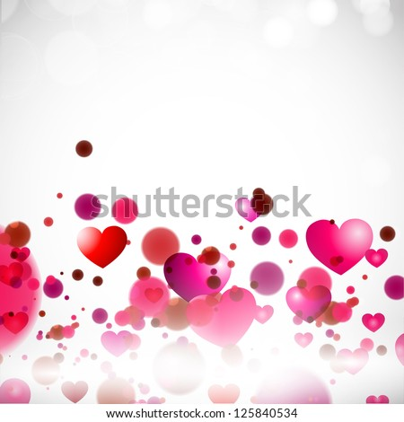 Happy Valentine's Day background with glossy pink hearts. EPS 10. - stock vector
