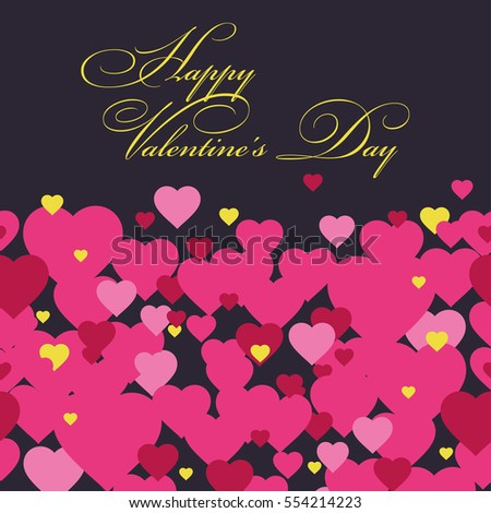 happy valentines day background with hearts vector illustration greeting card