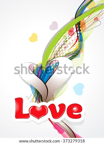 happy valentine's day background with love text vector illustration - stock vector