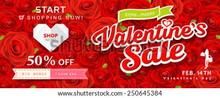 Happy Valentine's day banners sale on red rose background, vector illustrations
