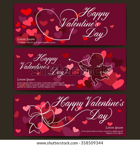 Happy Valentine's day banners. Shiny hearts with ribbon bow. Cupid arrow. Vector abstract background - stock vector