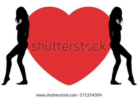 Happy Valentine's Day. Big heart with silhouettes of women.