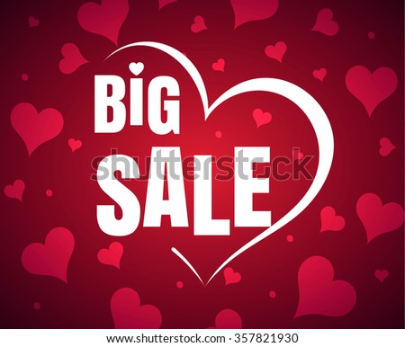 Happy Valentine's Day big sale card with red realistic  banner heart on a red pink background. Vector illustration EPS 10 - stock vector