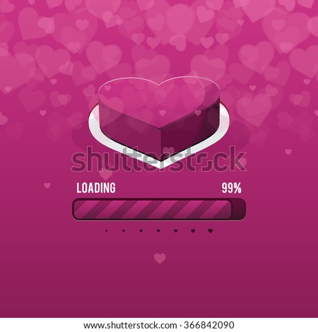 Happy Valentine's day card and love button and loading Valentine's day, vector background - stock vector