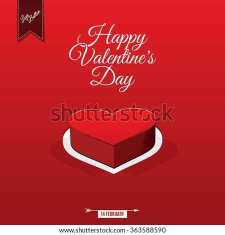 Happy Valentine's day card and love button, vector background - stock vector