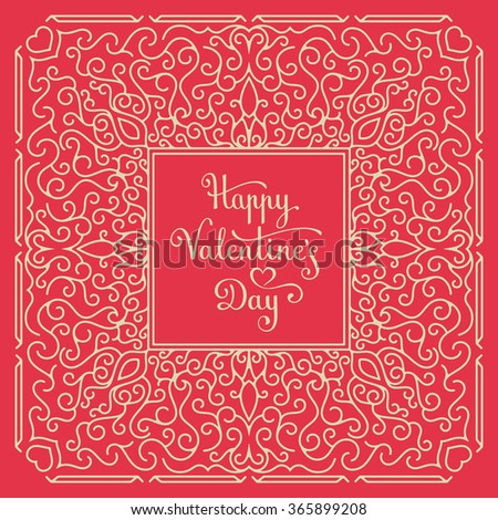 Happy Valentine's Day Card. Handwritten lettering. Vector illustration - stock vector