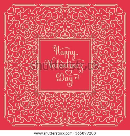 Happy Valentine's Day Card. Handwritten lettering. Vector illustration - stock vector