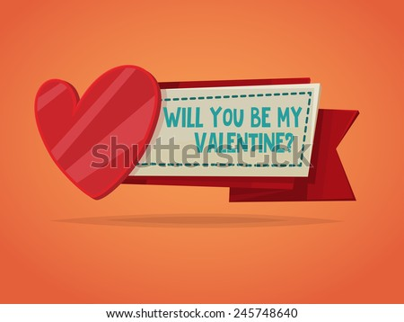 Happy Valentine's day card in retro style - stock vector