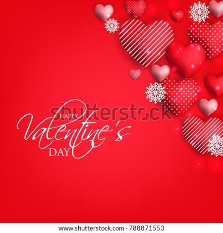 Happy Valentine's day card Invitation. Wedding card red hearts on red background