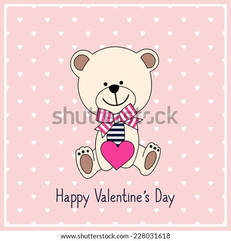 Happy Valentine's Day Card with cute teddy bear with heart on pink background, vector illustration