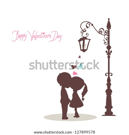 happy valentine`s day card with kissing couple - stock vector