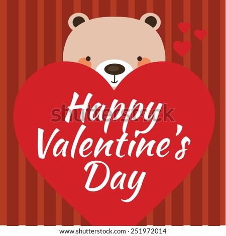 Happy Valentine's Day card with teddy bear and heart. Vector illustration eps10. - stock vector