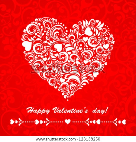 Happy Valentine's day! Celebration background with heart and place for your text. Vector Illustration - stock vector