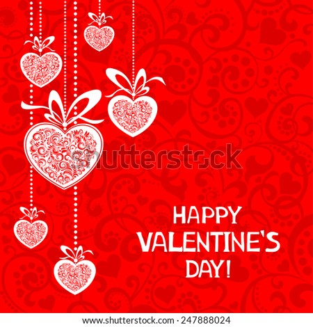 Happy Valentine's day! Celebration red background with hearts and place for your text. Vector Illustration - stock vector