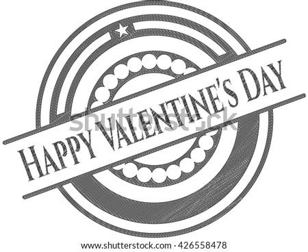 Happy Valentine's Day draw (pencil strokes) - stock vector