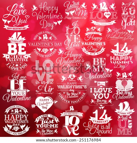 Happy Valentine's Day elements and labels set with hearts, ribbons, cupids and doves - stock vector