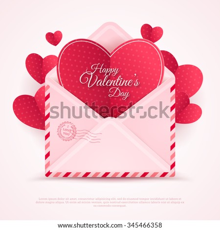 Happy Valentine's Day Envelope with Paper Hearts. Vector Illustration. Realistic Mail Envelope, Letter Happy Valentine's Day Inside. Can be used for Mother's and Women's Day Greetings - stock vector