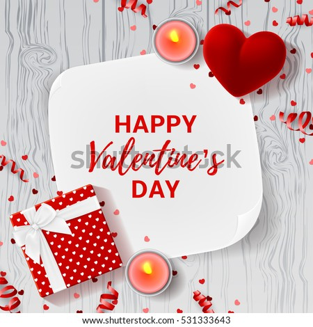 Happy Valentine's Day greeting banner. Top view on romantic composition with gift box and red case for ring. Beautiful backdrop with card and candles on wooden texture. Vector illustration.