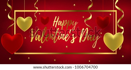 Happy valentines day greeting card glitter stock vector 1013524330 happy valentines day greeting banner with handwritten lettering glossy red and gold hearts vector m4hsunfo Images