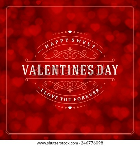 Happy valentines day greeting card bokeh stock vector 249530962 happy valentines day greeting card and bokeh heart light vintage vector background m4hsunfo Images