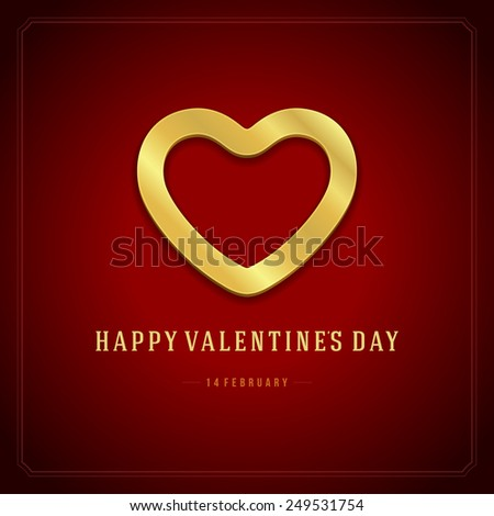 Happy Valentine's day Greeting Card or Invitation with Wishes, Vintage Vector Background - stock vector