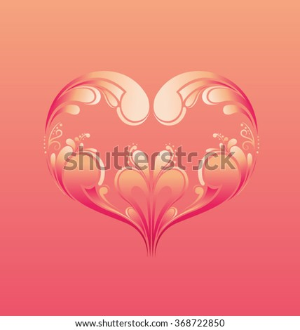 Happy Valentine's Day Greeting Card with ornamental heart-shapes, vector illustration - stock vector