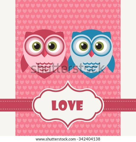 Happy Valentine's Day Greeting Card with Owls - stock vector