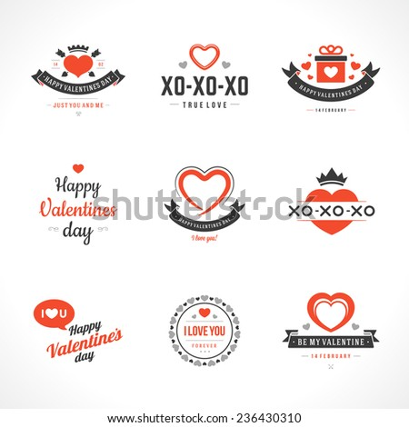 Happy Valentine's Day greetings card, labels, badges, symbols, illustrations and typography vector elements   - stock vector