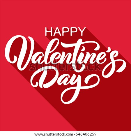 Happy Valentineu0027s Day Hand Drawn Brush Lettering With Long Shadow, Isolated  On Rich Red Background