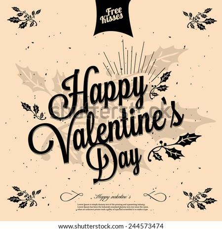 Happy valentine's day Hand lettering - handmade calligraphy - stock vector