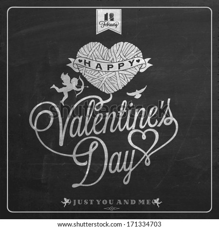 Happy Valentine's Day Hand Lettering - Typographical Background On Chalkboard with ornaments, hearts, ribbon, angel and arrow