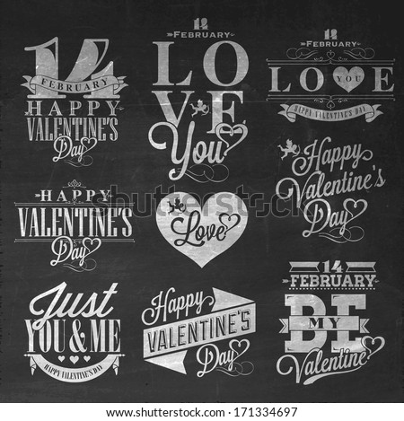 Happy Valentine's Day Hand Lettering - Typographical Background Set  On Chalkboard with ornaments, hearts, ribbon, angel and arrow