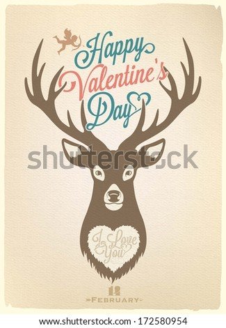 Happy Valentine's Day Hand Lettering - Typographical Background With Deer