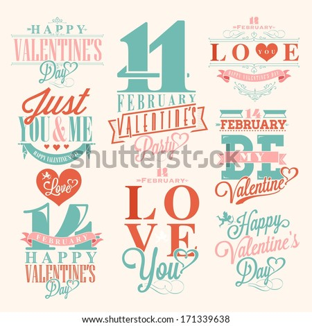 Happy Valentine's Day Hand Lettering - Typographical Background with ornaments, hearts, ribbon, angel and arrows - stock vector
