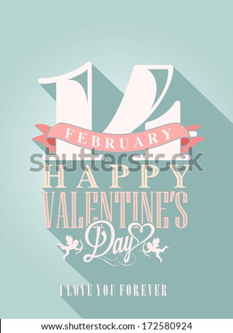 Happy Valentine's Day Hand Lettering - Typographical Background with ornaments, hearts, ribbon, angel and arrows