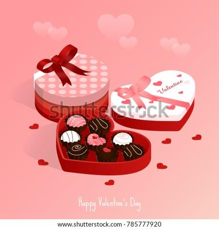 Happy Valentines Dayisometric Chocolate Cake Gift Stock Vector ...
