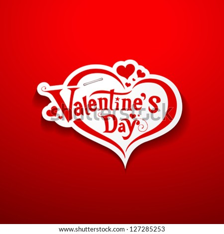 Happy Valentine's Day lettering on paper background, vector illustration