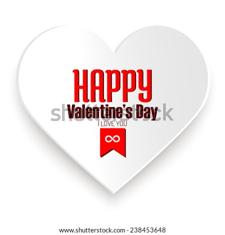 Happy Valentine's day message on white paper heart isolated on white
