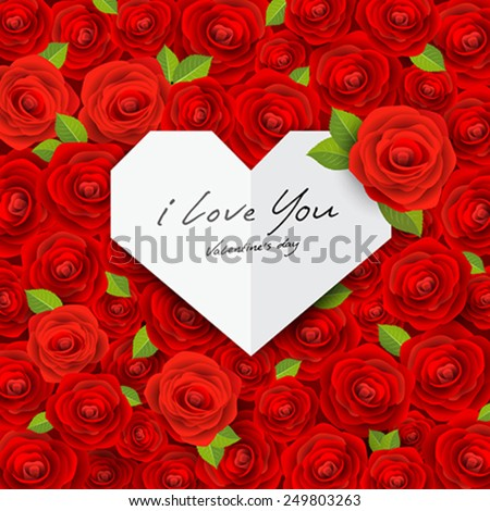 Happy Valentine's day origami paper heart on red rose background, vector illustration