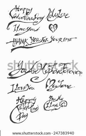 HAPPY VALENTINE'S DAY original custom hand lettering -- handmade calligraphy, vector - stock vector