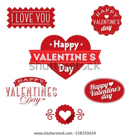 happy valentine's day ornaments - stock vector