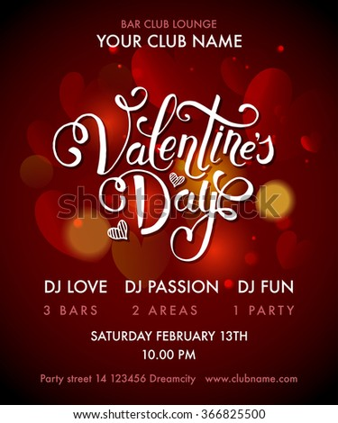 Happy Valentine's Day Party Flyer. Valentine's Day Party design template. Valentine's Day Party banner, flyer. Lettering for Valentine's Day Party  invitation card template. Vector illustration EPS10. - stock vector