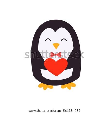 Happy Valentineu0027s Day Penguin With Heart. Penguin Holding A Heart. Plush  Toy Penguin With
