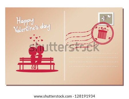 Happy Valentine's day postcard - stock vector
